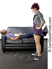 Lazy Roomate - Female angry at lazy male roomate making a...