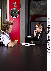 Tardy Worker - Male boss angry at late female employee