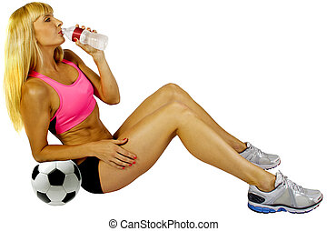 Athlete Drinking Water - young blonde female soccer player...