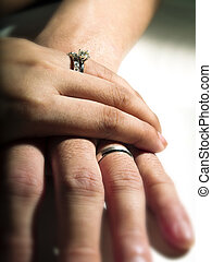 close up of hands with wedding ring