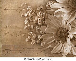 Love Song - Daisy bouquet in sepia and texture layers with...