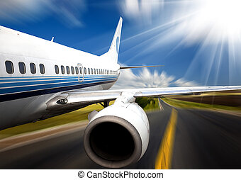 the airplane with the road background.