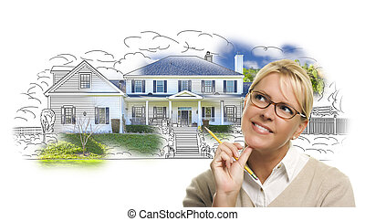 Woman with Pencil Over House Drawing and Photo on White -...