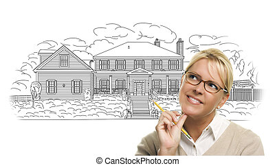 Woman with Pencil Over House Drawing on White
