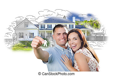 Military Couple with Keys Over House Drawing and Photo...
