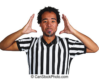 Referee - young black man wearing a referee uniform and...