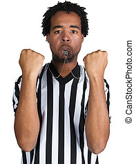 Referee - young black man wearing a referee uniform with...