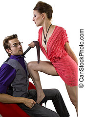 Bossy Seduction - young male being seduced by a bossy female
