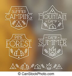 Camping badges and icons in thin line style. Graphic design...