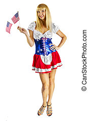 Independence Day - young female wearing american flag...