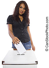 Latina Voter - Latin female voter at the ballot box Isolated...