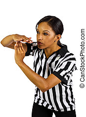 Female Referee - young black female referee with hand...