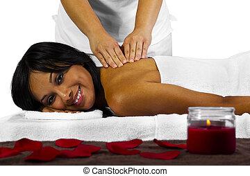 Backrub Massage - young black woman getting a back massage
