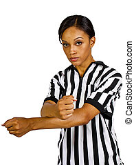 Female Referee - young black female referee wearing a...