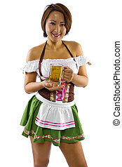 Octoberfest Waitress with Beer - young asian female waitress...