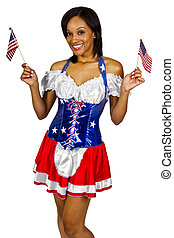 Patriot - young black female wearing American Flag costume