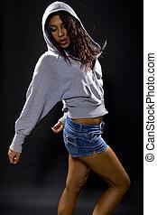 Latina, quadril, pulo, dançarino,