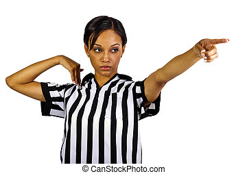 Female Referee - black female referee wearing a uniform
