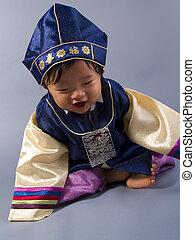 Korean Male Handbok - Korean baby boy in a traditional...