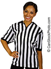 Female Referee - young black female referee in a uniform