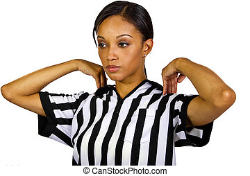 Female Referee - young black woman in a referee striped...