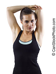 Female Fitness Stretching - young female fitness trainer...