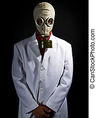 Mad Scientist - mad scientist wearing a gas mask and a lab...
