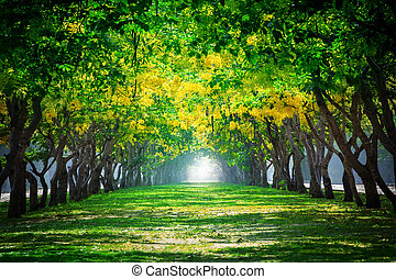 fresh and green beautiful of summer blooming yellow flowers...