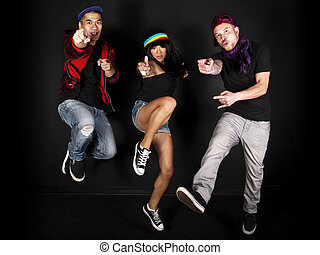 Hip Hop Crew - hip hop dancer on a black background