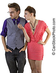 Relationship Problems - young couple fighting with white...