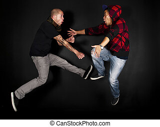 Hip Hop Dancers 2 Male - Hip hop dance crew on a black...