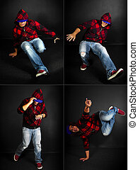 Break Dancer Series - hip hop dance crew on a black...