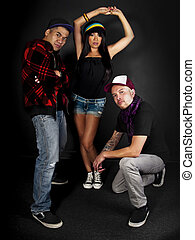 Hip Hop Crew - hip hop dance crew on a black background