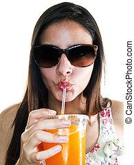 Frozen Drinks - woman drinking orange juice