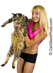 Fitness Trainer with Fat Cat - young blonde fitness trainer...