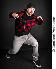 Hip Hop Series (male) - hip hop dance crew on a black...