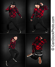 Hip Hop Series male - hip hop dance crew on a black...
