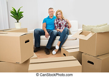 Young Couple In Their New House