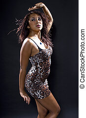 Latina Dancer Wearing Cheetah Print - Latina woman...