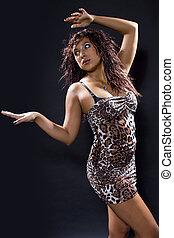 Latina Dancer Wearing Cheetah Print - Latina woman...