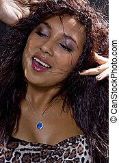 Latina CLubber Close Up - Close up of Hispanic woman...