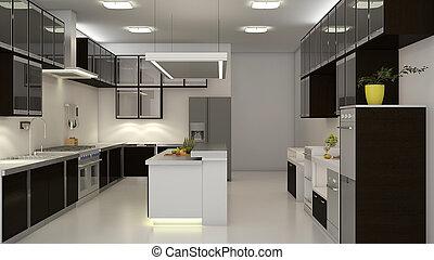 Modern 3D Kitchen - Modern clean white kitchen with center...