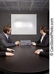 Conference Room - Conference room with blank screen for logo...