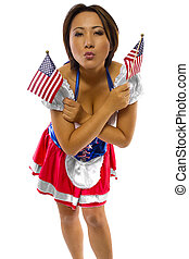 Asian American - young asian female with american flag and...