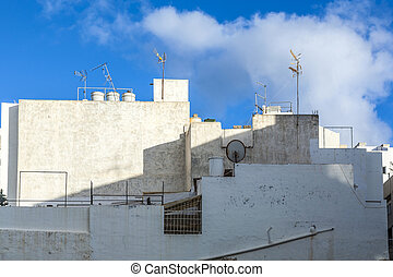 detail of architecture in Arrecife with white washed walls