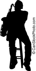 Silhouette of a tenor saxophone player