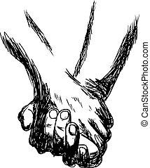 vector illustration handdrawn holding hands - vector...