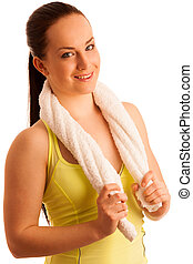 woman with towel after work out in fitness isolated over white b