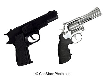 Revolvers gun and black semi-automatic gun isolated on white...