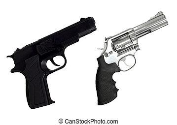 isolado, arma, pretas, revólveres, branca, semi-automático,...